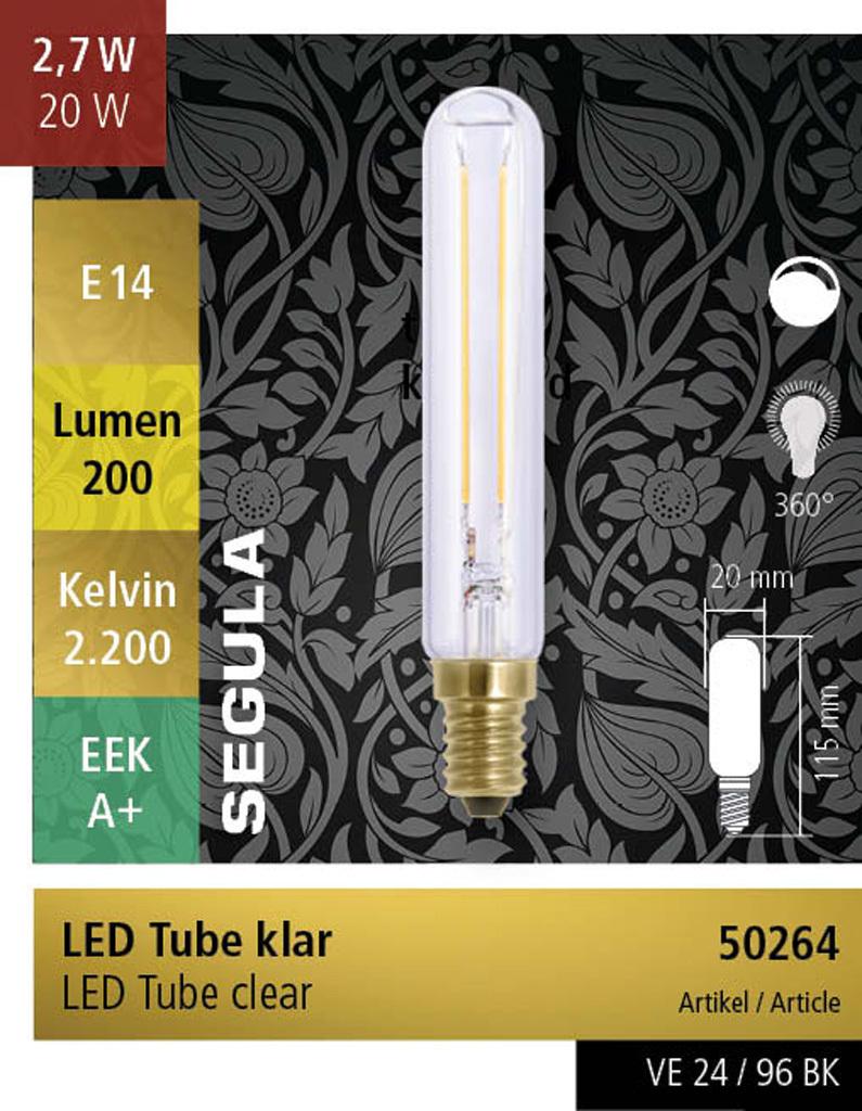 LED Tube Segula E14 2.7W Helder 200lm dimbaar