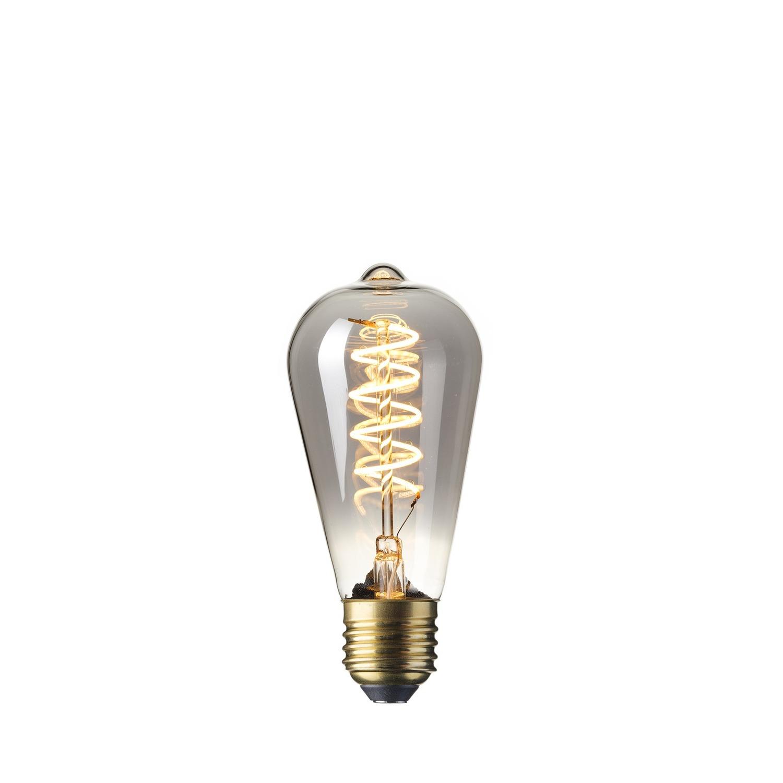LED Full Glass Flex Filament Rustik Lamp Calex 4W E27 Titanium dimbaar